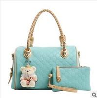 Free Shipping 2014 New Women Fashion PU Leather Handbag Party Shoulder Bag Tote Bag Crossbody Gift Wallet  Stuffed Bear Keychain