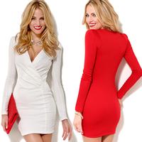 2014 summer new Fashion sexy richcoco V-neck prothorax pumping hip slim tube top long-sleeve dress d335