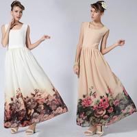 Senior flower slim full dress one-piece dress