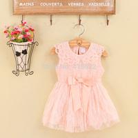Free Shipping! 2014 Summer New girls dress bow princess dress Children lace dress kids noble fairy dress Sleeveless high quality