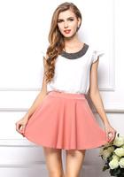 hot sale handmade  magnetite decoration neck chiffon women's clothes loose design best match for skirt