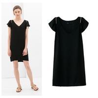 2014 summer new European and American V-neck dress solid shoulder zipper Puff (EA6268)