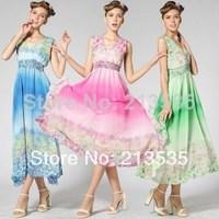 2014 New women's v-neck ruffles fresh floral holiday long dresses Free shipping
