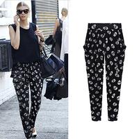 Fashion women's 2014 spring new arrival fashion black skull plus size harem pants legging