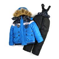 Children's Ski suit 2014 New thickening piece set ski suit large fur collar boys Windproof warm cotton jacket+ vest + pants suit