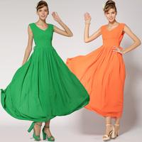 Solid color green orange strap slim both sides mere loin expansion bottom full dress