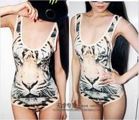 New 2014 tops women jumpsuits sexy camisoles tiger pattern design tank top Tigers vest bodysuits swim suits Tanks & Camis ZL5001