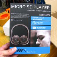 100pcs mini Portable Wireless headphone stereo neckband Headset Sport headphones micro sd mp3 Player with FM Radio free DHL
