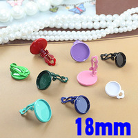 18mm New Multi-color Enamel Circle Edge Bezel Blank Bases Clip Earrings Settings DIY Resin Dome Jewelry Findings Wholesale
