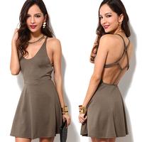 2014 summer new Fashion richcoco normic carrick-bend back racerback low o-neck sleeveless tank dress one-piece dress d351