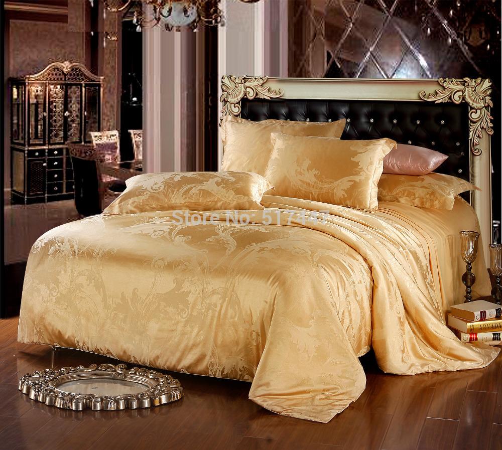 bedding set jacquard silk cotton series for queen size 4pcs duvet quilt bedlinen covers bedclothes luxury bedsheet bedclothes(China (Mainland))