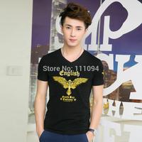 2014 Men's clothing base  male short-sleeve T-shirt winged cross print slim  casual shirt
