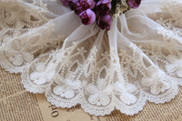 Handmade diy clothes accessories lace fabric embroidered beautiful flower hard gauze mesh embroidery lace trims 15cm wide