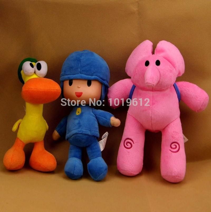 22-30cm 3pcs/lot baby toys POCOYO dolls elly pato plush toys stuffed animals plush toy birthday gifts for chlid christmas gifts(China (Mainland))