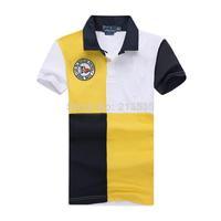 Free Shipping 2014 Brand Men Slim Fit Shirts For Men Brand Lapel Polo Shirt Short sleeve Mixed colors Shirt 100% cotton 2