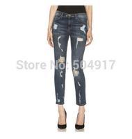 2014 summer fashion hot sale destroyed women's Current Elliott Hole ture blue(2color) skinny denim jeans for women work wear