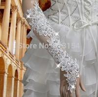 (CZML07)2014 Sexy Luxury &Fashionable  100% Handmade  White Lace Long Diamond Wedding Gloves Bridal Fingerless for Girls