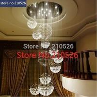 dia 80 x 180cm luxury K9 ball shape crystal chandelier lamp for home hotel restaurant stair decoration custom-made 110V-240V