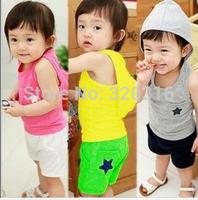 Free shipping Children's colorful Vest set, with hat vest + short, star short pink yellow grey color vest set for babies TZ27A03