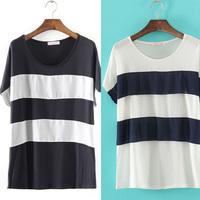 2014 New High Quality Women's European Basic&Simple Stripe Chiffon Blouse/Top/Cardigan