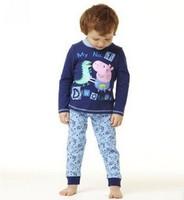 Retail Kids George pig Peppa pig pijamas boys pyjamas sets long sleeved top +pants CLOTHING SETS cotton Pajamas sleepwear