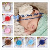 "2.5"" Chiffon Shabby Flower With Thin Elastic Headband Newborn/Infant Baby Headband Baby Hair Accessories 30PCS/LOT"