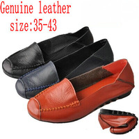 Plus Big Size 40 - 43 Hot New 2014 Cowhide Genuine Leather Loafers Gommini Single Shoes Black+Blue+Orange Women Flats Boat Shoes