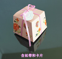 Continental Floral Wedding Favor Boxes DIY birthday gift trapezoidal candy bags wedding party supplies pink carton