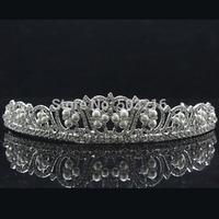 High Quality Clear Crystal Rhodium Plated Wholesale Fashion Wedding Pearl Crown