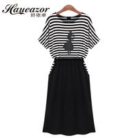 2014 summer women's fashion stripe short-sleeve plus size female one-piece dress loose faux two piece set full dress