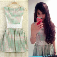 2014 women's sweet small fresh small lace patchwork sleeveless casual beach dresses
