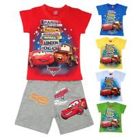 free shipping 2014 T shirt + Pant Short sleeve Summer Leisure Boys Sets suit Children' clothing Car Printed Fashion Kids Set