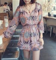 summer dress 2015 New Women Fashion Bohemian Print Long Sleeve Chiffon vintage Dress vestidos casual free shipping