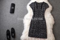 2014 brand new women's spring summer fashion wear European top brand fashion embroidery dress elegance party dress T1823