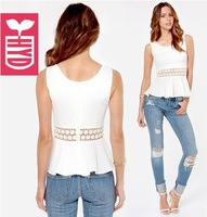 Export brand 2014 High quality chiffon falbala womens blouse white Splicing Lace Hollow out waist vest shirts