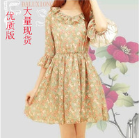 2014 new women's sweet small fresh fungus flare sleeve slim waist chiffon half sleeve dress vintage