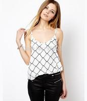 camis women fashion 2014 summer  european style white color tank top geometric print T shirt plus size