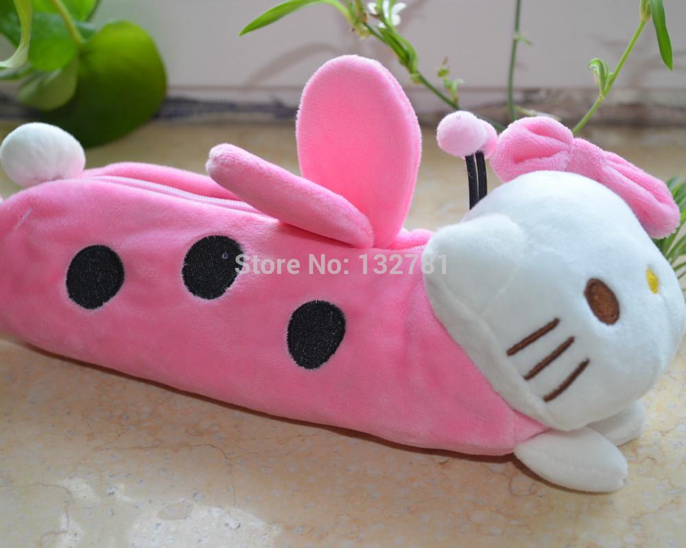 Coccinella Septempunctata Hello Kitty Plush Kids Gift, Lady Cosmetic bag, Coin Purse, Plush Pencil Case Free Shipping(China (Mainland))