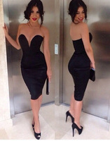 2014 new summer Free shipping Fashion sexy black and white V-neck high waist knee-length dress. Party Dress
