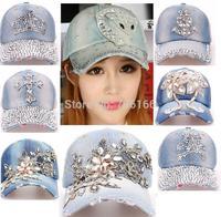 Newest Fashion women or kids rhinestone baseball caps diamond,many design can choose,1 pcs sell, China Post Free shipping