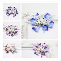 Frozen Snowflake Glitter Headband Hair Bow  Little Girl's Sparkle Dressy Headband Holiday Photo Prop Hair Bow crown 12pcs/lot