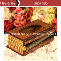 Novelty Book Shaped European Pastoral Style Wooden Made Stamped Removable Tissue Canister/Box Paper Dispenser