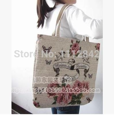 2014 new canvas shopping bag brief shoulder bag environment-friendly bag reusable bag 46*43 cm(China (Mainland))