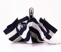 Free Shipping High Quality Japan Navy Stripe Umbrella full Automatic For Rain & Sun Three Fold Women Umbrella