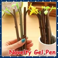[FORREST SHOP] Office Supplies 0.38MM Cute Green Leaf Novelty Pen / Kawaii School Stationery Black Gel Pen JS-8007