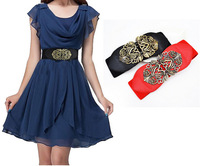 Free Shipping !Carve Flower Wide Design Alloy Korean belts for women
