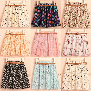 Высокое качество мода летние женщины шифон юбка с поясом свободного покроя цветочные короткие юбки