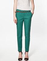 L0664, free shipping Wholesale women pocket solid color pants, women pencil free belt pant