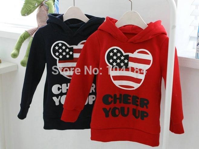 4pcs girls boys mickey hoody childrens long sleeve USA flag hoodies kids clothes childrens Sweatshirts free shipping(China (Mainland))
