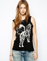 2014 women sexy tank tops Night wolf print short-sleeved vest TANK  size XS-XXL
